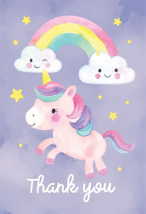 Friendly Unicorn   Thank You Card Template (Free