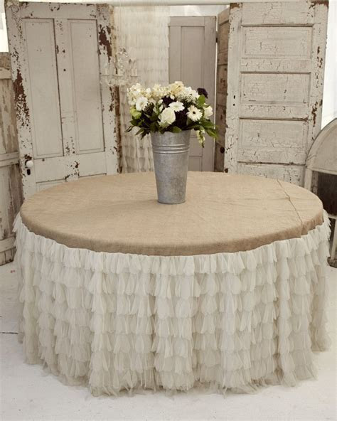 Large Ivory Petals and Burlap Tablecloth   Vintage