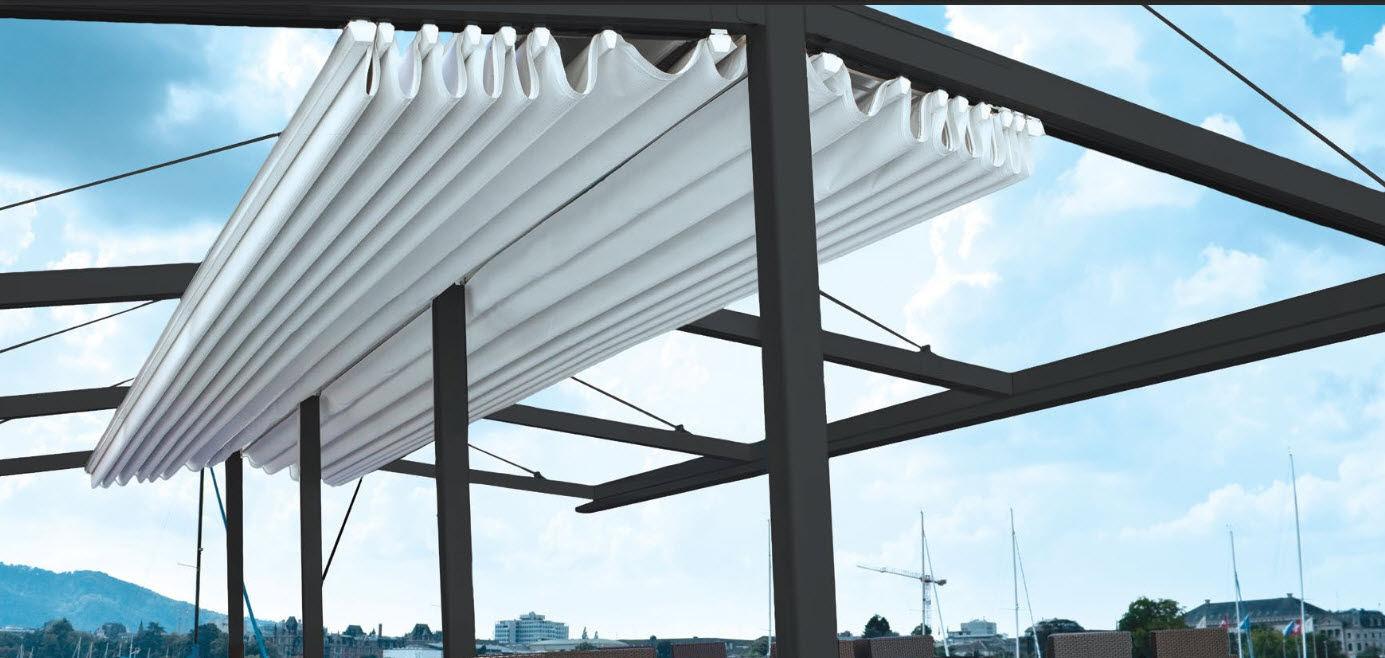 Commercial aluminum pergola (sliding cover) - MARINE - Palmiye ...