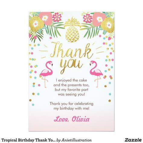 Tropical Birthday Thank You Card Luau Flamingo   Zazzle