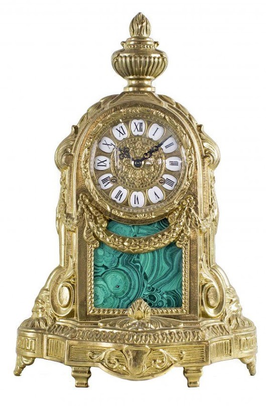 Antique Clocks : LOUIS XVI STYLE BRONZE AND FAUX MALACHITE MANTLE CLOCK... - Decor Object | Your Daily dose of Best Home Decorating Ideas & interior design inspiration