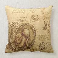 Da Vinci Studies of Embryos MoJo Throw Pillow throwpillow