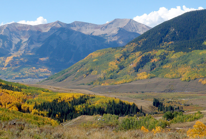 Looking down Brush Creek from lower Teocalli Ridge, Crested Butte, Colorado.