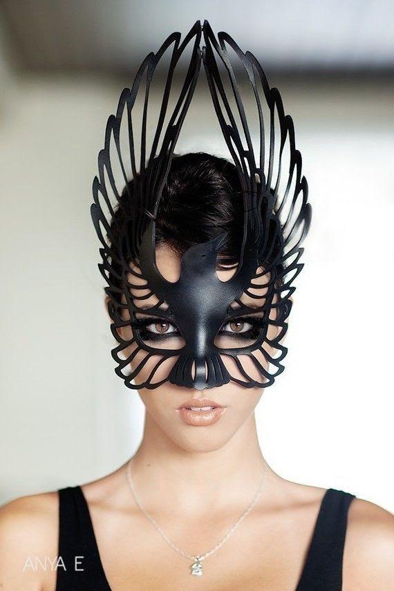 Leather raven mask Tom Banwell Etsy