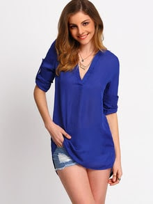 Blue Stand Collar Casual Loose Blouse