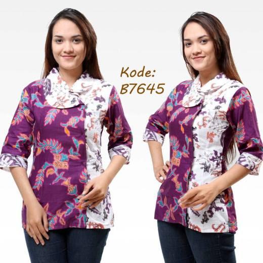 Desain Baju Batik Kerja Modern 2016