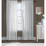 Commonwealth Thermavoile Rhapsody Lined Tailored Pole Top Curtain Panel - 54 x 63 White