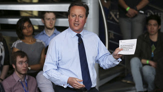 Cameron, parlant en una trobada amb universitaris aquest mateix dijous (Reuters)