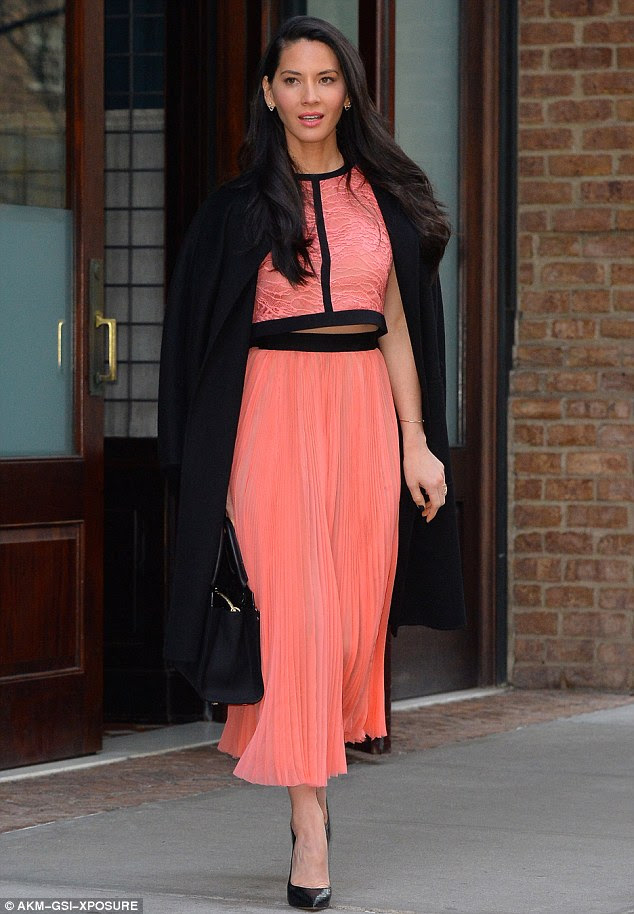 Winning look: Olivia Munn looked stylish as she stepped out to visit the Live! With Kelly and Michael studios on Thursday
