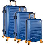Nautica Tide Beach 3 Piece Hardside Spinner Luggage Set - Blue/Tangerine - Luggage Sets