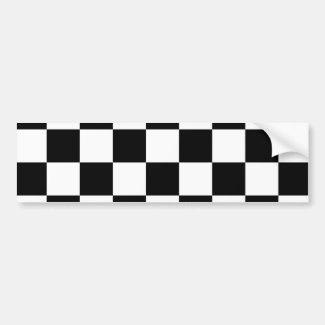 Checkered Black and White Car Bumper Sticker