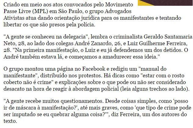 Matéria da Folha sobre Advogado que oferece manual a Black Blocs