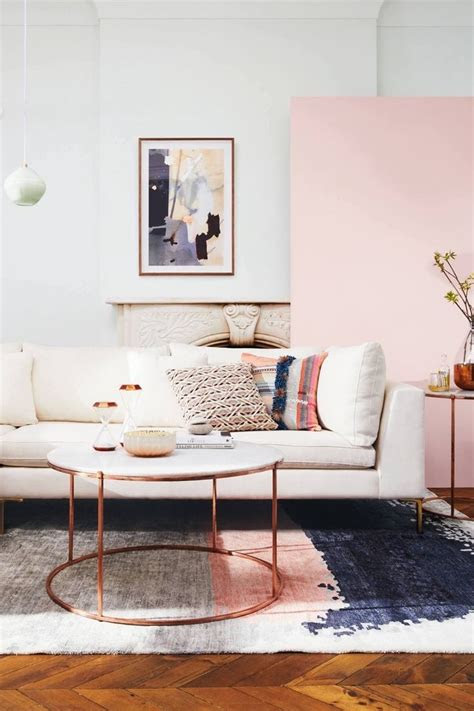 pink rose gold accent pieces modern living room