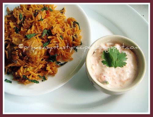 Chicken Briyani & Carrot N Onion Raita
