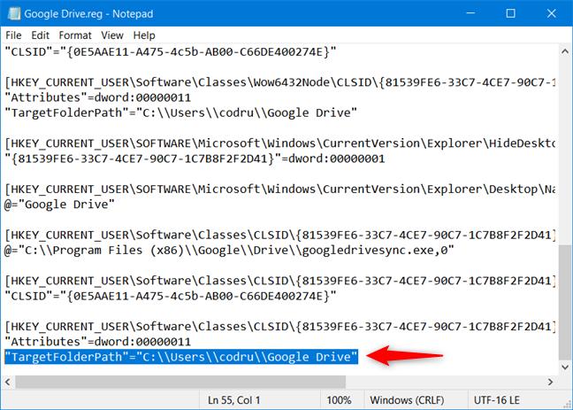 Reemplace los valores de TargetFolderPath con la ruta a su carpeta de Google Drive