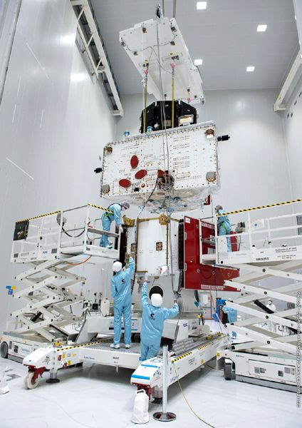 Japan's MIO and Europe's MPO spacecraft, now joined together, are about to be positioned atop Europe's Mercury Transfer Module for a 'fit check' at Europe's Spaceport in Kourou, French Guiana.