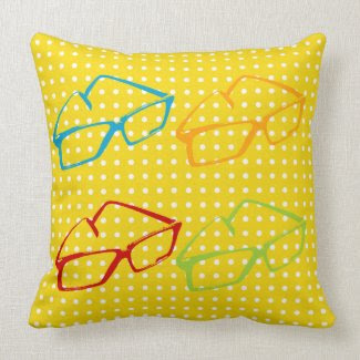 Yellow Retro Eyeglasses Square Throw Pillow
