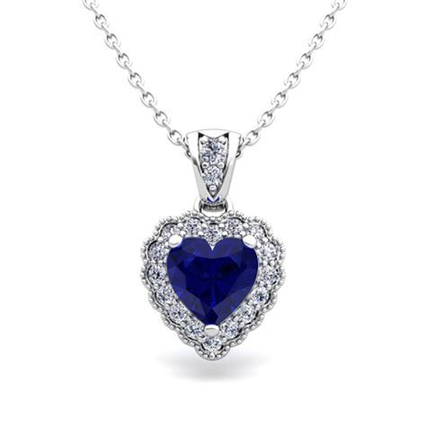 Milgrain Diamond and Sapphire Heart Necklace in 14k Gold