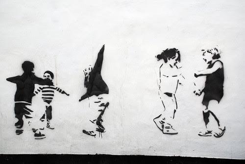 Children Playing Stencil Art