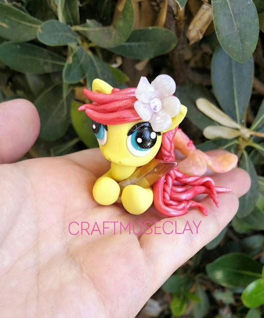 Baby merpony fantasy polymer clay figure by CraftMuseClayShop