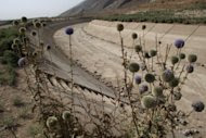 """A dried-up water canal in Eghlid highlights drought in the southern Iranian province of Fars in 2008. The drought in southern Iran is part of a """"soft war"""" launched against the Islamic republic by the West, the Fars news agency quoted an Iranian vice president as saying. (AFP Photo/Atta Kenare)"""