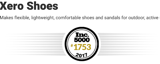 Xero Shoes is #1753 on the Inc. 5000 list!