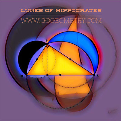 Geometric Art of Lunes of Hippocrates 1, Lunes of Alhazen: Circle Areas and Right Triangle