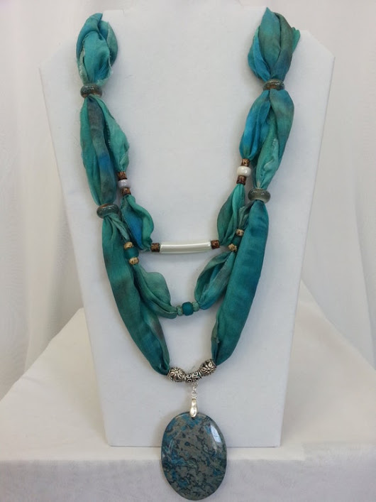 Turquoise Silk Scarf Necklace with Blue Lace by ColorsAndChords
