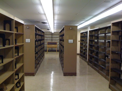 Empty shelves in the fiction section at the Donnell