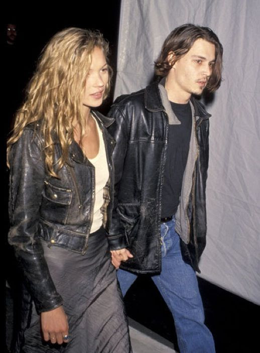 LE FASHION BLOG JOHNNY DEPP KATE MOSS JOHNNY AND KATE INSPIRATION LEATHER MOTO JACKET WHITE SHIRT WAVY LONG HAIR MAXI SKIRT 1