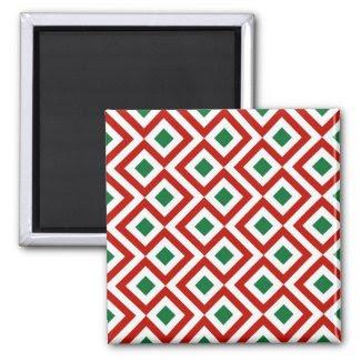Red, White, Green Meander Fridge Magnet