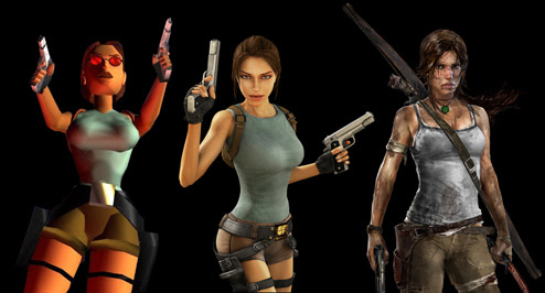 Three generations of Lara Croft
