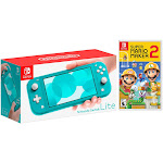 Nintendo Switch Lite Turquoise Bundle with Super Mario Maker 2 NS Game Disc - 2019 New Game!