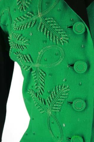 40s Black Green Soutache Jacket Suit Dress