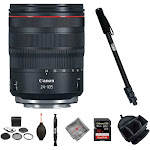Canon RF 24-105mm f/4 IS USM Lens, SD card, Monopod and Bag