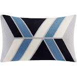 """INK+IVY - Aero Embroidered Abstract Oblong Pillow - Blue - 12x20"""""""