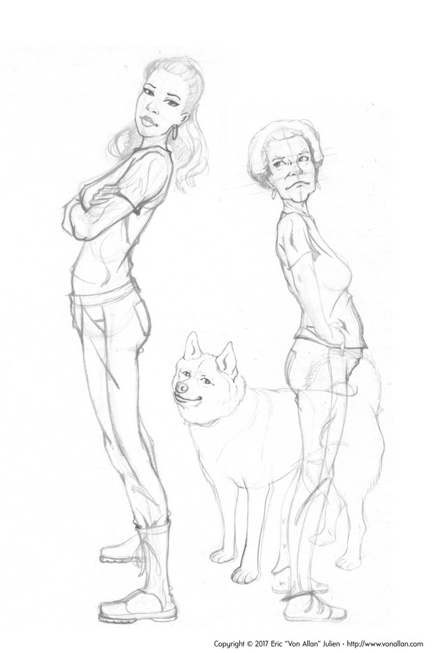 Pencil sketches of Lauren, Patty, and their boy by Von Allan