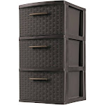 Sterilite Decorative 3-Drawer Storage Weave Tower, Espresso