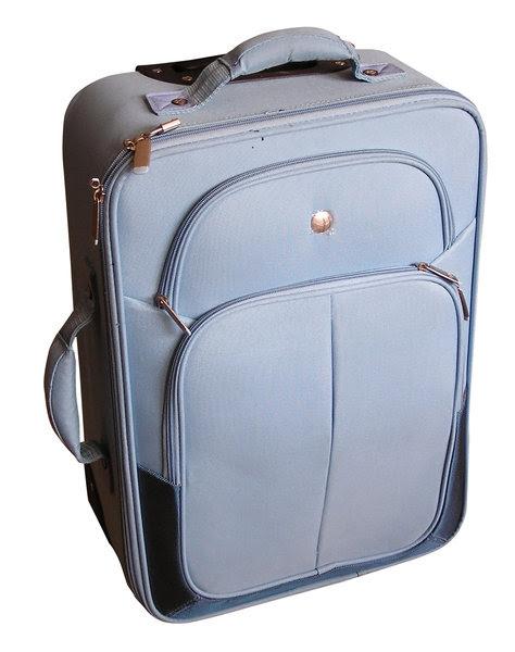 Suitcase: A blue suitcase.