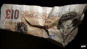 Crumpled £10 note