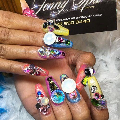 Cardi B Blue, Coral, Purple, Yellow Jewels, Nail Art ...