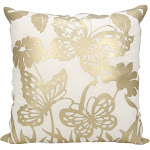 Mina Victory Luminescence Butterfly Garden Gold Throw Pillow by Nourison (20-Inch X 20-Inch)
