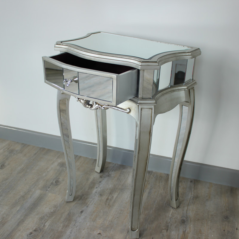 Silver Mirrored Bedside Table - Tiffany Range - Melody Maison®