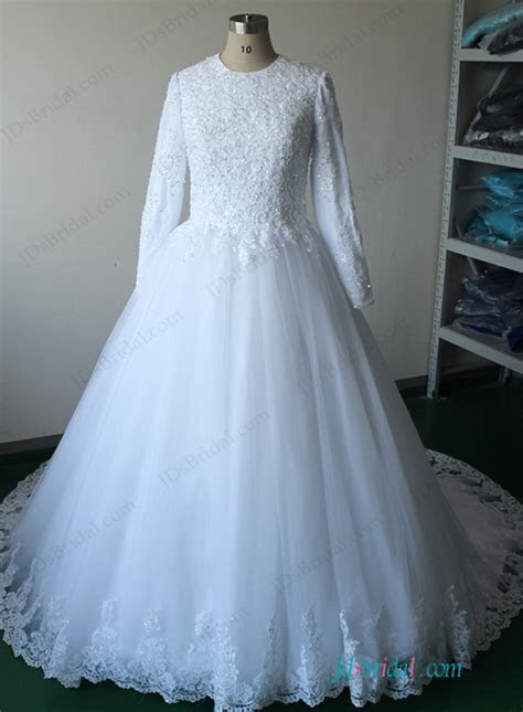 H1143 Islamic modest long sleeves tulle ball gown wedding
