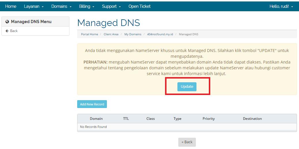 klik update di managed dns