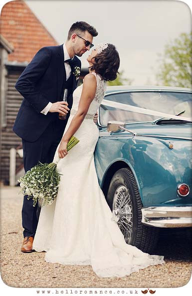 Bride and Groom kissing Jaguar Car Vintage Suffolk