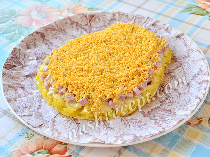 салат Овечка: слой тертого желтка - salat ovechka: sloy tertogo zheltka