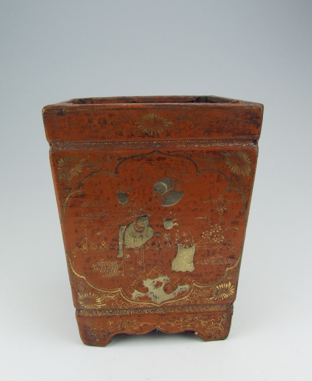 Chinese Antique Lacquer Wooden Brush Holder with Pattern ...