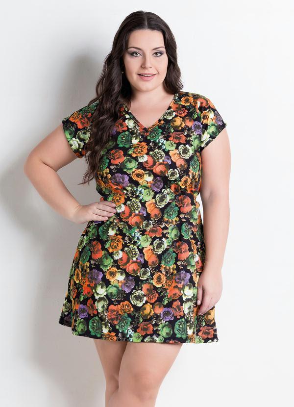 Vestido Decote V (Floral)