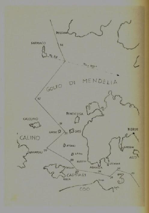 Απόσπασμα χάρτη που συνοδεύει τη χάραξη των θαλάσσιων συνόρων Ιταλίας-Τουρκίας 28/12/ 1932.(Ίμια-Cardac)